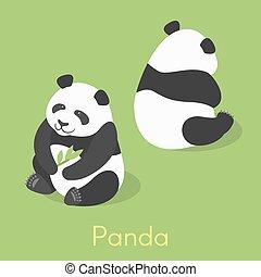 isometrico, vettore, panda, illustrazione