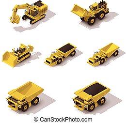 isometrico, vettore, set, minerario, macchinario