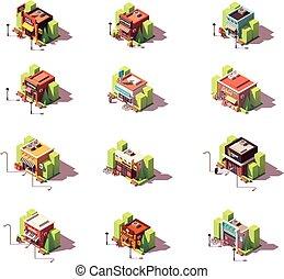 isometrico, vettore, set, negozi, icona