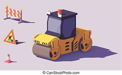 isometrico, vettore, strada, rullo