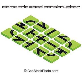 isometrico, vettore, strade, constructor., kit, creare, tuo, 3d, città, o, strada, map., per, tuo, infographic, o, affari, design.