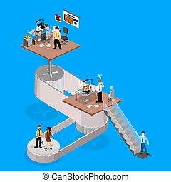 isometrics, negócio, infographics