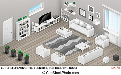 Isometrics of the living room furniture. Project in vector graphics