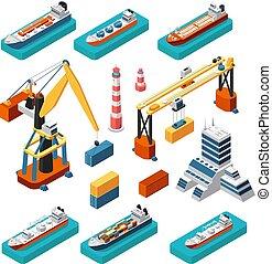 isometrisch, 3d, schiffe, kräne, seehafen, gebäude, leuchturm, und, schiffahrt, behälter, vektor, marine, logistisch, satz, freigestellt