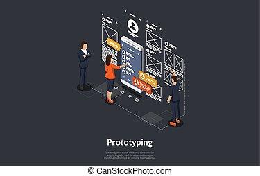 isometrisch, abbildung, beweglich, application., vektor, entwickeln, begriff, leute, forschung, prototyping