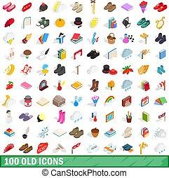 isometrisch, altes , heiligenbilder, satz, stil, 100, 3d
