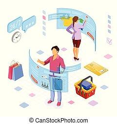 isometrisch, augmented, shoppen, virtuelle wirklichkeit