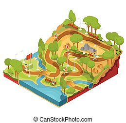 isometrisch, bänke, abschnitt, park, kreuz, abbildung, fluß, vektor, brücken, lanterns., landschaftsbild, 3d