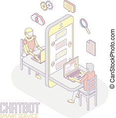 isometrisch, begriff, app, abbildung, vektor, chatbot