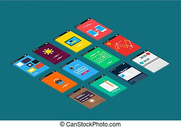 isometrisch, begriff, beweglich, app, vektor, design, ui