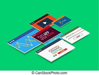 isometrisch, benutzerschnittstelle, design