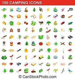 isometrisch, camping, heiligenbilder, satz, stil, 100, 3d