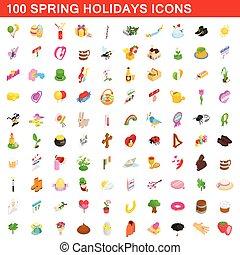 isometrisch, cons, satz, fruehjahr, stil, feiertage, 100, 3d