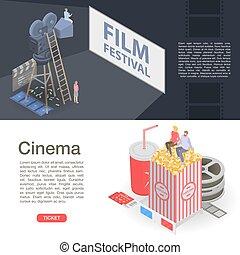 isometrisch, fest, stil, satz, banner, film