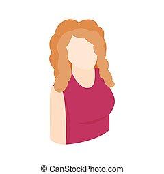 isometrisch, frau, stil, blond, ikone, 3d