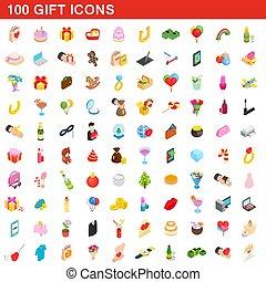 isometrisch, geschenk, heiligenbilder, satz, stil, 100, 3d