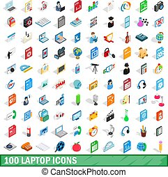 isometrisch, heiligenbilder, satz, laptop, stil, 100, 3d