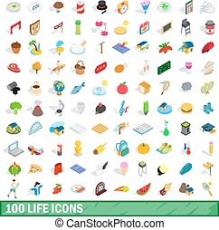 isometrisch, heiligenbilder, satz, lebensstil, 100, 3d
