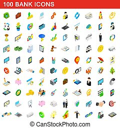 isometrisch, heiligenbilder, satz, stil, 100, bank, 3d
