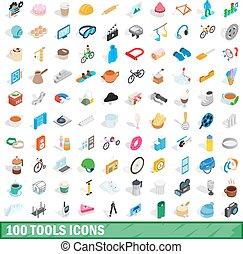 isometrisch, heiligenbilder, satz, stil, 100, werkzeuge, 3d