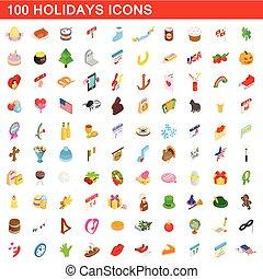 isometrisch, heiligenbilder, satz, stil, feiertage, 100, 3d