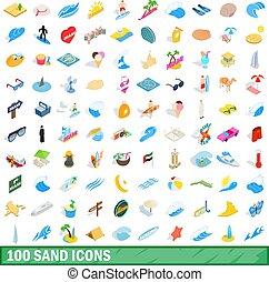 isometrisch, heiligenbilder, satz, stil, sand, 100, 3d