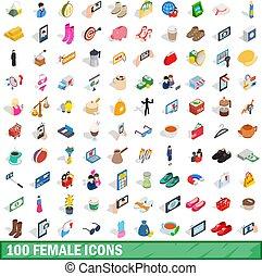 isometrisch, heiligenbilder, satz, stil, weibliche , 100, 3d
