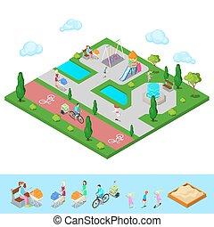 isometrisch, kinder, spielplatz, park, mit, leute, sweengs, rutsche, und, fountain., vektor, abbildung