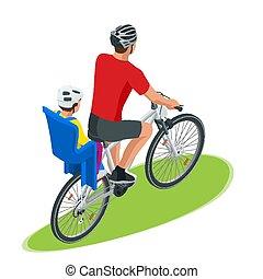 Fahrrad, isometrisch, kinder, fahrrad, trailer. Wohnung