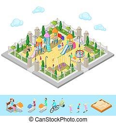 isometrisch, leute, park, abbildung, sweengs, rutsche, vektor, spielplatz, sandbox., kinder, karussell