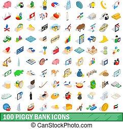 isometrisch, piggybank, heiligenbilder, satz, stil, 100, 3d