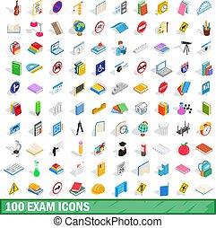 isometrisch, prüfung, heiligenbilder, satz, stil, 100, 3d