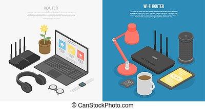 isometrisch, satz, stil, radio, router, banner