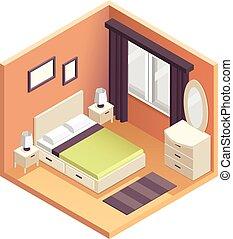 isometrisch, schalfzimmer, innenarchitektur, abbildung