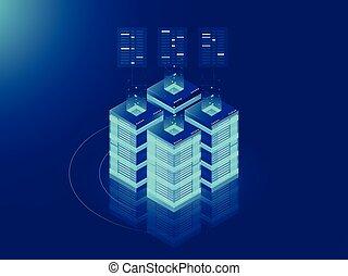 isometrisch, serverraum, und, groß, datenverarbeitung, begriff, datacenter, und, daten, lauge, ikone, digitale informationen, technologie, neon, dunkel, steigung