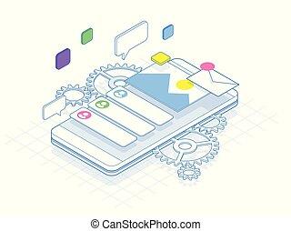isometrisch, telefon, mit, zahnräder, zähne, und, reparatur, begriff, von, linie., beweglich, dienstleistungen, banner, vektor, illustration.