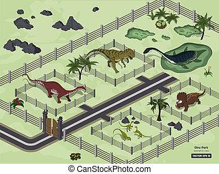 isometrisch, uralt, tiere, jura, park, museum., zoo, dinosaurierer, style., 3d