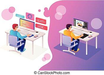 isometry, büroleute, standort, design, programmierer, web, arbeitende , zeichen, zwei, anwendung, html, online, neu , 3d, entwicklung, entwerfer, coding., abbildung, php, mann, grafik, arbeit, projekt, vektor, technologie, software, seite, ansicht