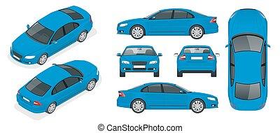 isometry, bok, komplet, szablon, odosobniona farba, znakowanie, górny, cars., wstecz, sedan, zmiana, wóz, przód, advertising., jeden, przód, stuknięcie, tylny