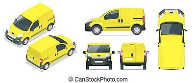 isometry, côté, couleur, marquer, tout, une, advertising., voiture., voiture, fourgon, sommet, isolé, arrière, gabarit, éléments, séparé, groupes, devant, layers., changement, click., voiture, back., petit, devant