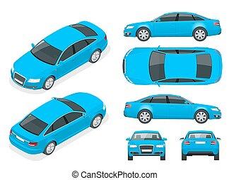 isometry, côté, ensemble, couleur, marquer, cars., tout, devant, voiture, déclic, couches, sommet, isolé, changement, gabarit, éléments, séparé, advertising., dos, groupes, sedan, une, arrière, devant
