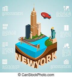 Isometry city New York - New York. Set of detailed isometric...