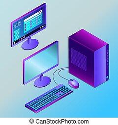 isometry, gefärbt, abbildung, schreibtisch pc, vektor, zukunftsidee