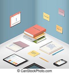 isometry, ilustración, oficina, lugar de trabajo