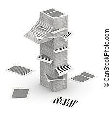 isometry, nombre, piles, 1, papier, police, pages, 3d