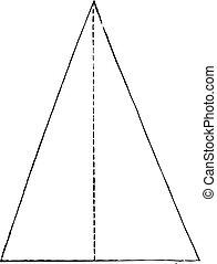isosceles, engraving., triangle, vendange