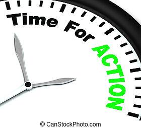 ispirare, orologio, motivare, tempo, azione, mezzi