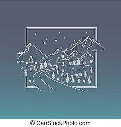 ispirazione, lineare, manifesto, con, montagne, strada, e, il, stars.