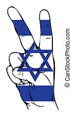 israélien, paix, drapeau, signe