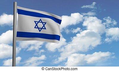 israélien, render, animation, ciel, nuages, drapeau, informatique, vidéo, fond, blanc, 3d